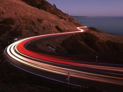Motion on the Coastal Cliffs (RZ68) Tags: ocean california light sunset red sea summer sky white mountains cars water up one 1 evening coast high highway long exposure traffic dusk curves trails cliffs hills velvia pch provia rz67 e100
