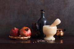 Ivory Colored Mortar (panga_ua) Tags: food fruit spices pomegranates blackpepper pipernigrum ivorycoloredmortar