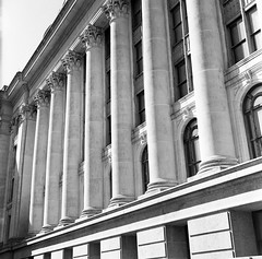 Halls of Government (Nathan Hillis Photography) Tags: city windows building 120 tlr film oklahoma architecture reflex power kodak tmax politics capital columns twin architectural mob 400 government classical marble okc yashica lense bureaucracy 120mm oligarchy yashicaa selfgoverment