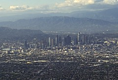 Los Angeles from air IMGP3195 (CanadaGood) Tags: usa america california ca losangeles air airline downtown 2016 thisdecade canadagood colour color mountain highway aerial