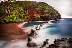 Red Sand Beach in Maui Hawaii _86A0145-Pano (The Smoking Camera) Tags: ocean blue red green beach hawaii bay sand nikon rocks cove maui hana shore kaihalulu redsandbeach d810