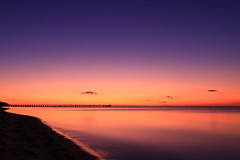 Let it happen (alideniese) Tags: sunset shadow red sky seascape color colour reflection beach water silhouette landscape evening bay pier glow purple dusk horizon shoreline australia melbourne victoria coastal shore morningtonpeninsula dromana nightfall waterscape portphillipbay