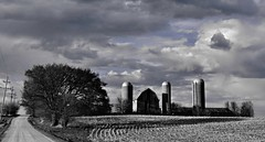 the tale of the three... (BillsExplorations) Tags: road sky blackandwhite abandoned clouds barn rural three decay farm silo forgotten ruraldecay hss abandonedfarm barnsandfarms ruraldeterioration abandonedillinois sliderssunday