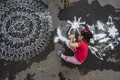 Kolam Contest (Ravikanth K) Tags: road red people india white abstract cute wet girl painting design kid child outdoor drawing traditional contest culture competition tradition chennai kolam rangoli competing 2016 mylapore 500px