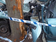 Crashed Car in S.E London,3 (doojohn701) Tags: crashed car vehicle uk london horrific tree police tape crumpled distorted frame blood scars bulkhead rust mirror reflection wires glass coroner violent