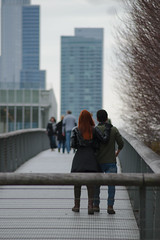 Young Love (sandro.giulio) Tags: street city bridge people urban chicago love boyfriend architecture girlfriend candid younglove couples pedestrian redhead highrise renzopiano