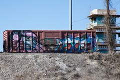 (o texano) Tags: bench graffiti texas houston trains freights wholecar texer benching