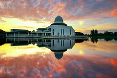 An Nur Reflections Part II (fiz_zero) Tags: morning sunset wallpaper sky sun nature water skyline architecture clouds sunrise reflections landscape nikon asia outdoor background minaret muslim religion peaceful mosque calm explore malaysia tranquil perak annurmosque nikon1635mmf4vr nikond750
