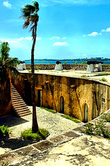 The Fortress and Dakar (EmperorNorton47) Tags: africa autumn sea history fall skyline digital french bay photo afternoon fort outdoor palmtree vista senegal fortification fortress iledegoree