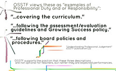 Educational Postcard:  Three examples of professional Duty or Responsibility (Ken Whytock) Tags: board duty professional responsibility growing success judgement expectations assessment policy evaluation curriculum guidelines polices covering procedures folowing osstf