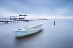 Ghost Boat (Xose Casal) Tags: longexposure blue sea cloud lake seascape water horizontal landscape boat movement lee waterscape nd400 neutraldensity leefilter bigstopper xosecasal