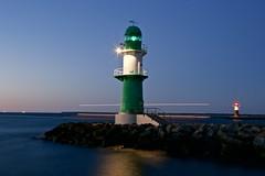 blue night (Jualbo) Tags: blue light sunset sea lighthouse west green night germany deutschland evening warnemnde baltic mole ostsee rostock leuchtturm vorpommern mecklenburg
