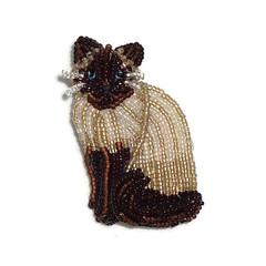 SIAMESE CAT beaded keepsake animal art pin pendant jewelry (The Lone Beader) Tags: cats fashion necklace beads amazon pin handmade brooch gato etsy beading beaded pendant beadwork bordados cuentas fancycat beadembroidery catjewelry