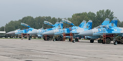 Line-up of Flankers (Angle-of-Attack) Tags: airplane aircraft aviation ukraine airforce 2013 ivanofrankivsk