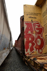 Agro (huntingtherare) Tags: train graffiti rack freight lumber rollingstock agro benching