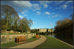 Moon over Coombe Abbey...... (Jason 87030) Tags: sky sun moon water clouds bench sunny february coventry warwickshire midlands countrypark 2016 coombeabbey