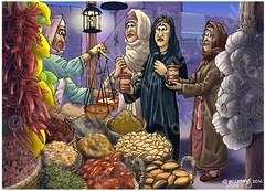 Mark 16 - Resurrection of Jesus - Scene 01 - Buying spices (Colour version) (Martin Young 42) Tags: easter market mark jesus stall salome marymagdalene colourversion spiceseller marksgospel mark161 marythemotherofjamestheless