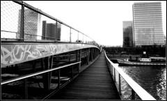 Passerelle simone de beauvoir / BNF (lhoteln) Tags: street bridge white black paris france art seine de la noir afternoon simone bibliothque franois blanc aprsmidi graffitis nationale passerelle beauvoir mitterand