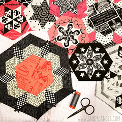 gnomeangel-smitten-large-hexie (gnomeangel) Tags: pink white black modern quilt quilting patchwork epp smitten englishpaperpiecing gnomeangel