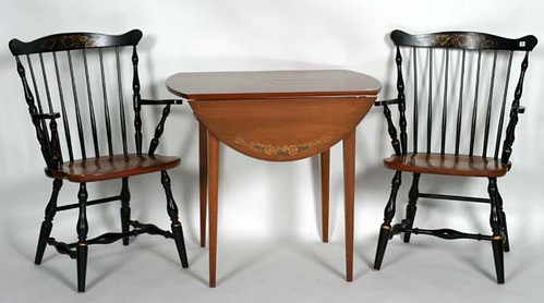 Hitchcock Table & 4 Black Stenciled Chairs - $209.00