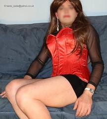 0316-new-clothes-11 (Bede Cede) Tags: stockings tv cd transvestite heels corset crossdresser crossdress pvc strappy sheer