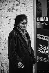 Dinar (Milos Krstic) Tags: street portrait woman blackwhite sad homeless serbia documentary social second novi