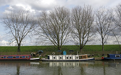 River Lea (peterphotographic) Tags: old uk england reflection tree london classic water canon river boat canal ship britain cream vessel mooring narrowboat walthamstow canalboat eastlondon riverlea riverlee moored g15 ©peterhall img6414edwm