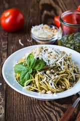 Basilico, pasta al pesto (Wine Dharma) Tags: italy food recipe liguria pasta basil recipes italianfood basilico ricetta italiancuisine ricette pastaalpesto pestoligure pestodibasilico pastaalpestoricetta
