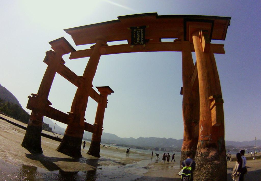 Itsukushima Torii at low tide #fisheye #miyajima