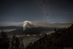 Mount Bromo just before sunrise (jrockar) Tags: trip travel sky mountain 3 night canon way indonesia stars landscape volcano java mark smoke iii documentary galaxy backpacking journey crater l 5d milky f4 1740 mk bromo active milkyway ringoffire puffing mountbromo cemorolawang