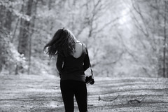 hair in the wind (T_2wice) Tags: road park camera portrait blackandwhite bw woman sun nature sunshine forest hair outside woods nikon dof wind walk candid burma prince william adventure trail national american breeze d610