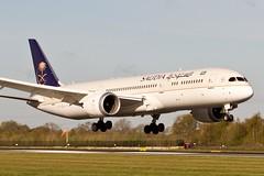 SAUDIA DREAMLINER (Paul Rowbotham) Tags: blue sky tree fence aviation jet 7d boeing runway manchesterairport windsock ringway 789 b787 saudia egcc dreamliner boeing787 7879 05r dreamliner787 b789