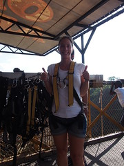 Preparing to Bungy Jump 111metres off the bridge above the Zambezi River (little_duckie) Tags: africa zimbabwe bungy bungee zambezi bungyjump zambeziriver 111metres