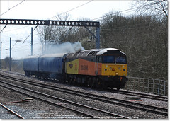 47739 'Robin of Templecombe' works north through Huntingdon with 2 Barrier Vans, March 29th 2016 b (Bristol RE) Tags: 1615 huntingdon colas 6378 6379 45201 47035 47739 d1615 47594 robinoftemplecombe colasrailfreight