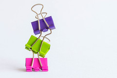 27/30: Balancing act (judi may) Tags: white colour colours vibrant clips whitebackground colourful paperclips vibrantcolours canon7d april2016amonthin30pictures