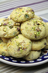 Saffron & Pistachio Biscuits (The Artisan Food Trail) Tags: food cookies recipe dessert baking spice nuts desserts pistachio biscuits recipes saffron cardamom spicedrops bakerypatisserie artisanfoodtrail saffronpistachiobiscuits