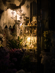 Well Decorated (H.H. Mahal Alysheba) Tags: light shop night lumix room snapshot summilux 25mmf14 gx7 leicadg