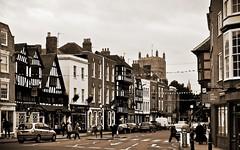 Church Street... (MickyFlick) Tags: street uk england europe cathedral unitedkingdom gloucestershire shops churchstreet tewkesbury timberframed tudorbuildings