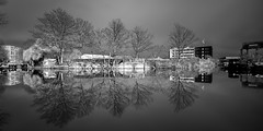 Time to Reflect (Acero666) Tags: longexposure bridge england blackandwhite bw cloud reflection tree abbey graffiti canal aqua leicester grandunioncanal belgrave darkart 2016 abbeypark wolsey riversoar sel1635 a7rii
