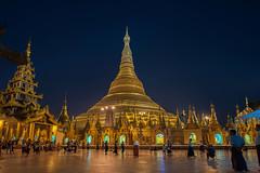 Into the Gold (Tati@) Tags: temple twilight symbol yangon dome goldplated shwedagonpagoda meetingplace