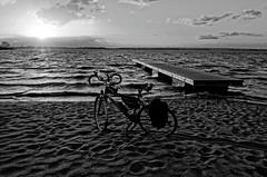 My bicykle on the beach, sunny and windy April in Stettin. (TomasLudwik) Tags: sunset blackandwhite bw bicycle nikon coolpix szczecin stettin a