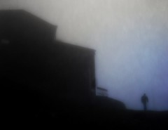 Sfide (SoleTempesta) Tags: fog persona blu ombre chiesa uomo piemonte cielo montagna paesaggio vento mistero eremo sagoma sagome sfumature 1092 sfide montetobbio tobbio soletempesta