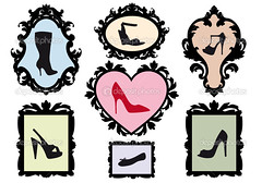 shoe silhouettes in antique frames, vector set (abelangelberon2004) Tags: pink red abstract black love fashion silhouette sign female illustration shopping shoe design high pumps heart graphic symbol boots drawing antique feminine background object border picture diversity style icon footwear frame trendy clipart passion heel accessories concept variety elegant stiletto shape ornamental addiction vector sandal mania apparel accessory eps womanish