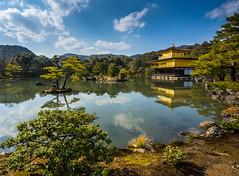 Kinkaku-Ji Reflection (ErikFromCanada) Tags: travel blue trees sky reflection castle water beautiful yellow japan clouds landscape asian gold golden pond kyoto afternoon waterfront angle wide kinkakuji a7r