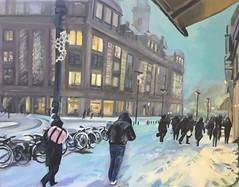 'A Snow  Storm in Amsterdam' (Plumkin) Tags: street city people urban white snow storm cold holland dutch buildings shopping lights soft artist cityscape traditional crowd creative thenetherlands freezing bicycles canvas lilac blizzard beehive slippery bijenkorf oilpainting drift straat sneew sneeuwstorm plumovelgonne