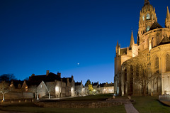 Bayeux at night (Anders_3) Tags: street city blue moon france night nikon normandie nightsky normandy calvados bayeux cresent bassenormandie bayeuxcathedral d700