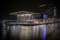 Muziekgebouw (karinavera) Tags: new longexposure travel building netherlands amsterdam architecture night hotel contemporary concerthall mvenpick muziekgebouwaantij nikond5300