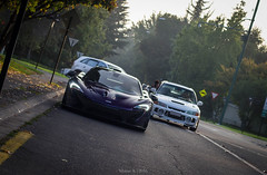P1 and Evo IV. (Mathias Aravena) Tags: purple evolution mclaren twinturbo mitsubishi v8 p1 lancerevo hypercar