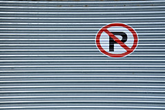 no parking (brescia, italy) (bloodybee) Tags: park street red italy lines sign grey europe parking gray shutter p brescia prohibition 365project