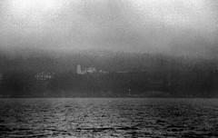Dice Head Light In Fog 8-26-1988mrf (ironmike9) Tags: ocean sea lighthouse water fog coast boat seaside ship maine vessel atlantic sail schooner seacoast uscg roseway diceheadlight